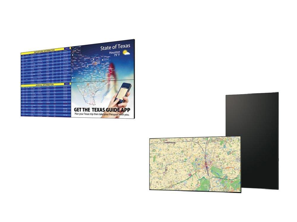 Video Wall aus vier PN-V551 (l.) und neuer 4K 70-Zöller PN-H701 (Fotos: Sharp)