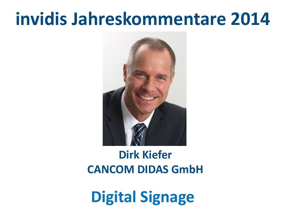 Digital Signage-Jahreskommentar: Dirk Kiefer, CANCOM