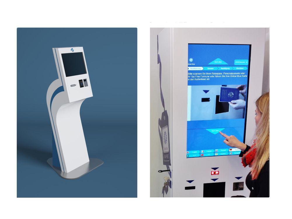 Auf der EuroCIS 2015 zu sehen: Standard- und Tax Free-Validierungs-Kiosk (Foto: Kiosk Solutions)