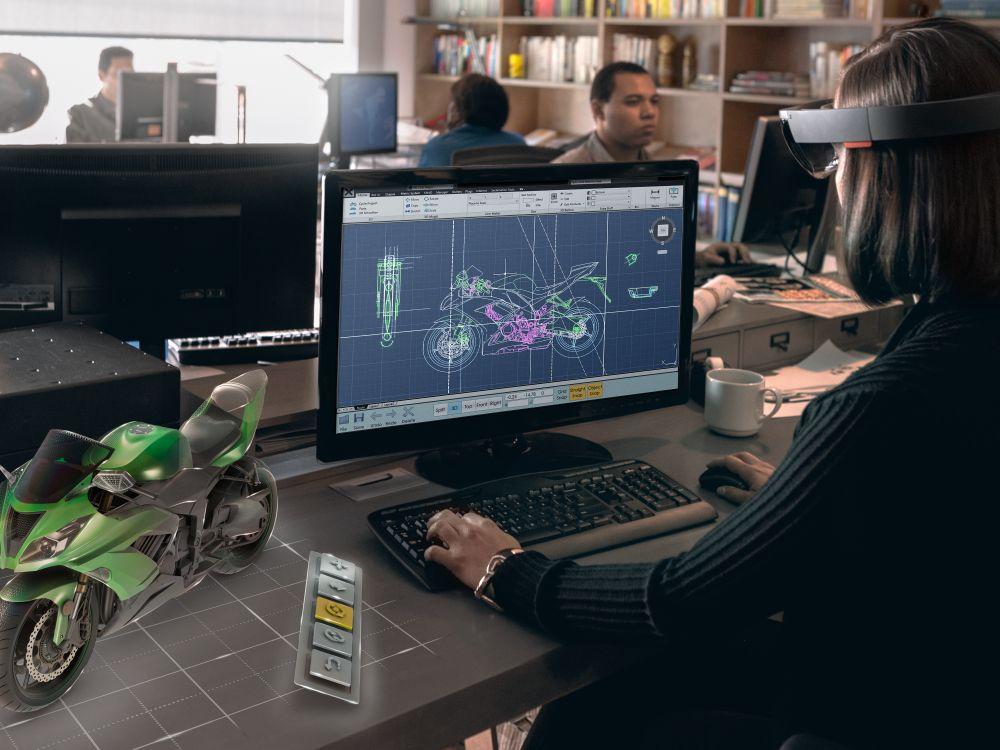 Designarbeitsplatz mit HoloLens (Foto: Microsoft)
