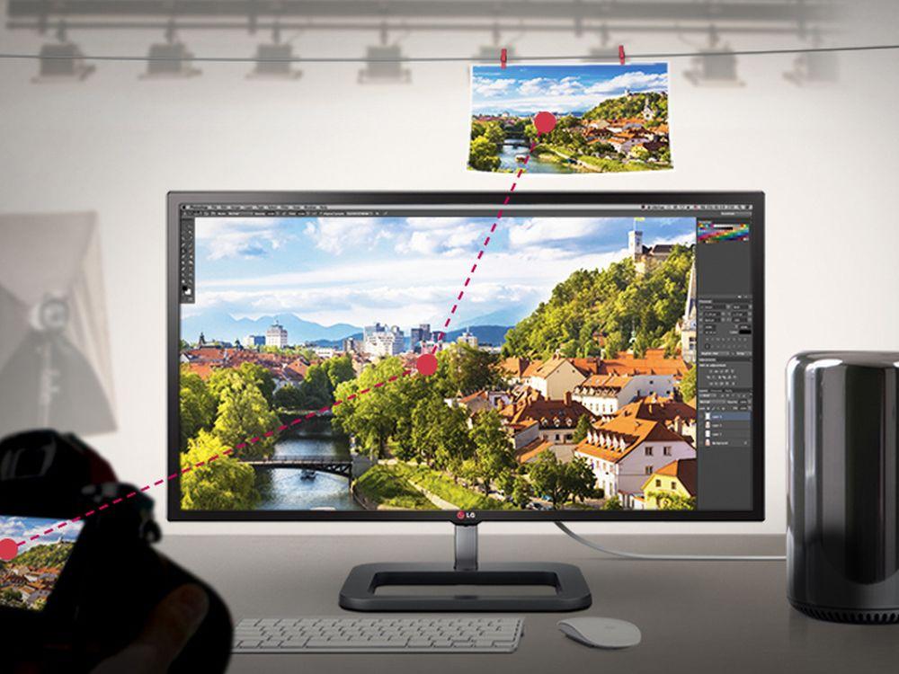 Kamera, Monitor und Röhre DSLR LG 31MU97 und Apple Mac Pro (Foto: LG)
