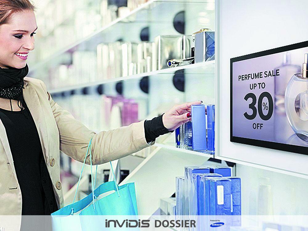 Small Signage am PoS: Hier eine professionelle Lösung (Foto: Samsung, Grafik: invidis)