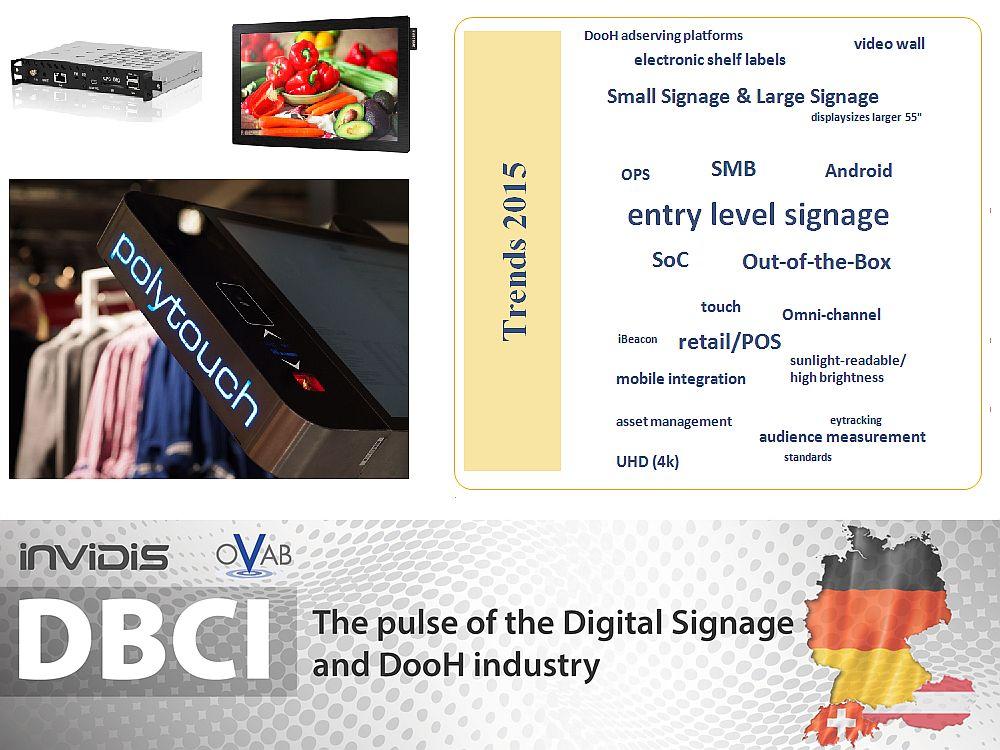 Die Digital Signage Trends 2015 aus Sicht der Branche (Grafik und Montage: invidis; Fotos: Archiv)