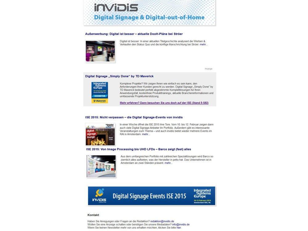 Zur ISE erscheint der invidis Newsletter traditionell früher (Screenshot: invidis)
