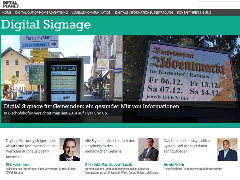 """Die Kampagne """"Digital Signage"""" in der Tageszeitung """"Der Standard"""" (Screenshot: invidis)"""