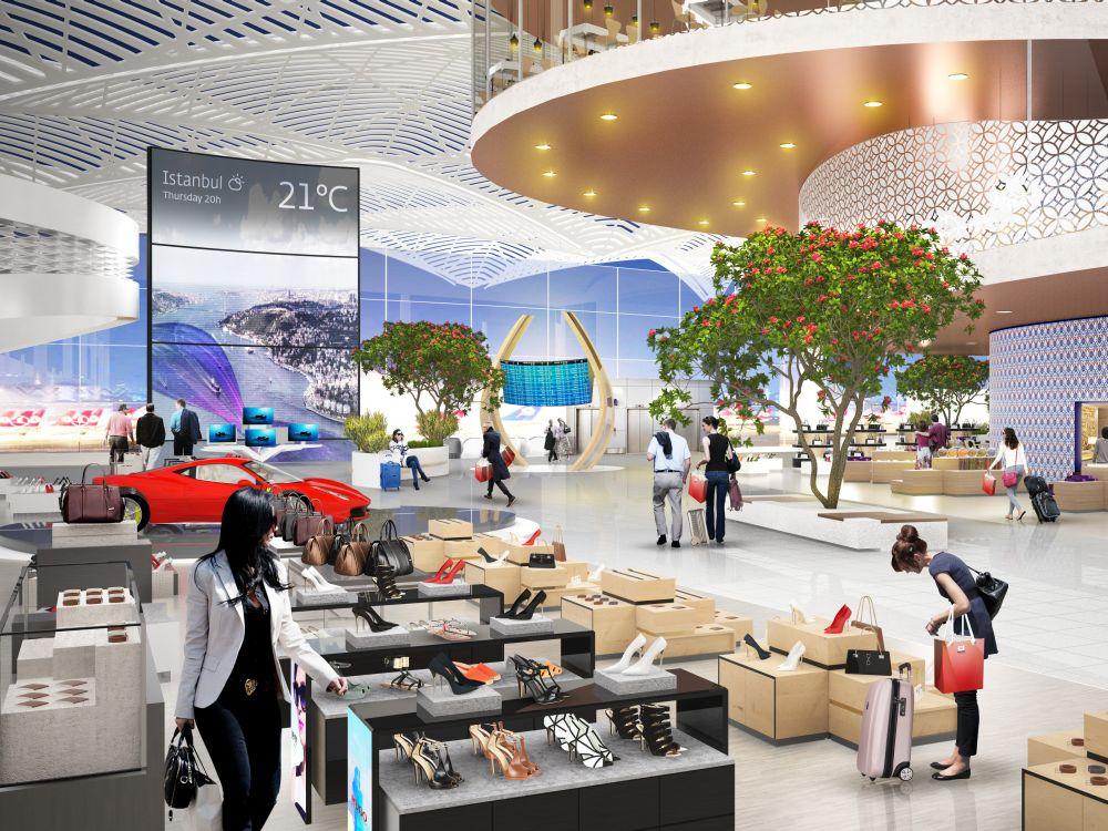 Digitale Screens auf der Retailfläche des neuen Airports in Istanbul (Rendering: Interbrand)