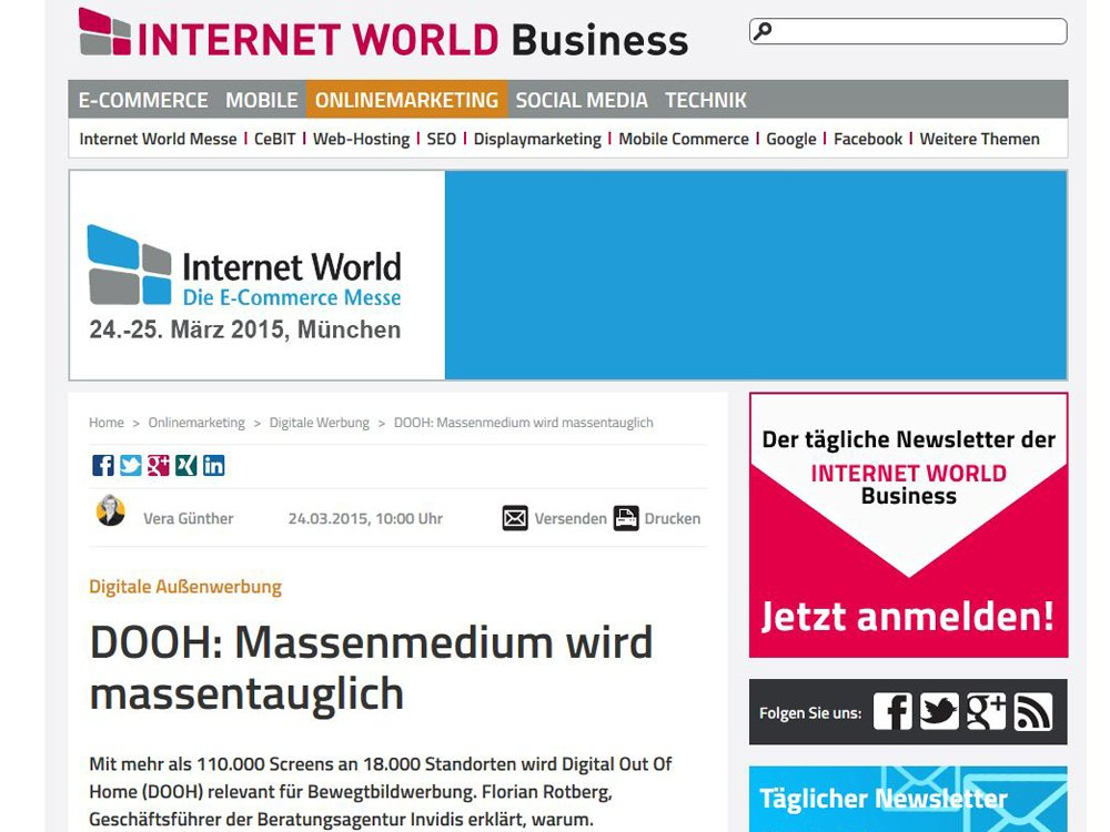 Digitall-out-of-Home in der akteullen Ausgabe der Internet World Business und Online (Screenshot: invidis)