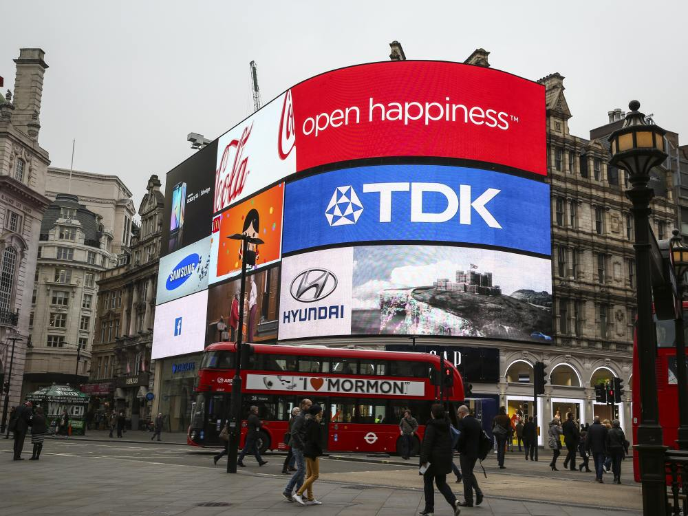 LED Board von TDK am Piccadilly Circus (Foto: TDK)