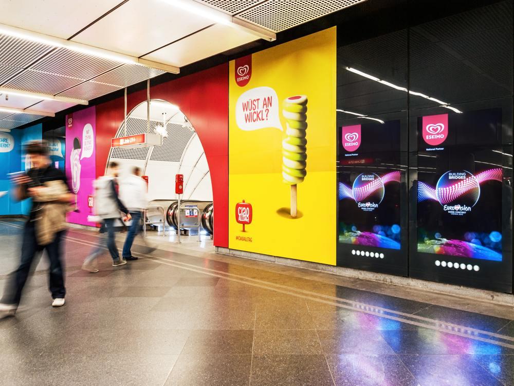 Aktuelle DooH-Kampagne für Eskimo in Wien (Foto: Gewista)