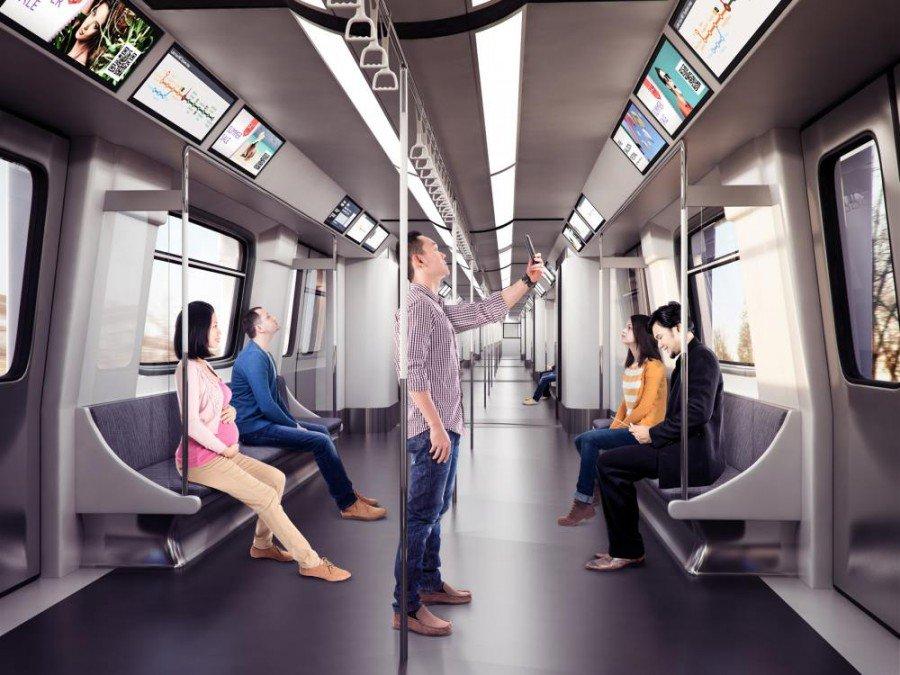 Bar Type-Screens in der U-Bahn (Foto/ Rendering: Ben Q)