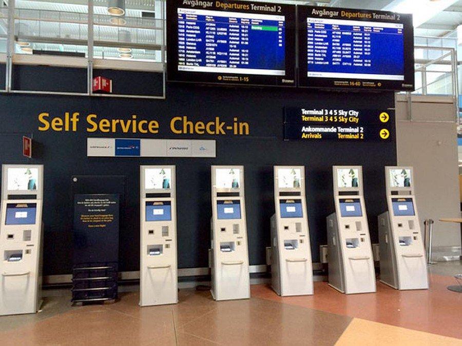 CUSS-Terminals an einem schwedischen Flughafen (Foto: eKiosk)