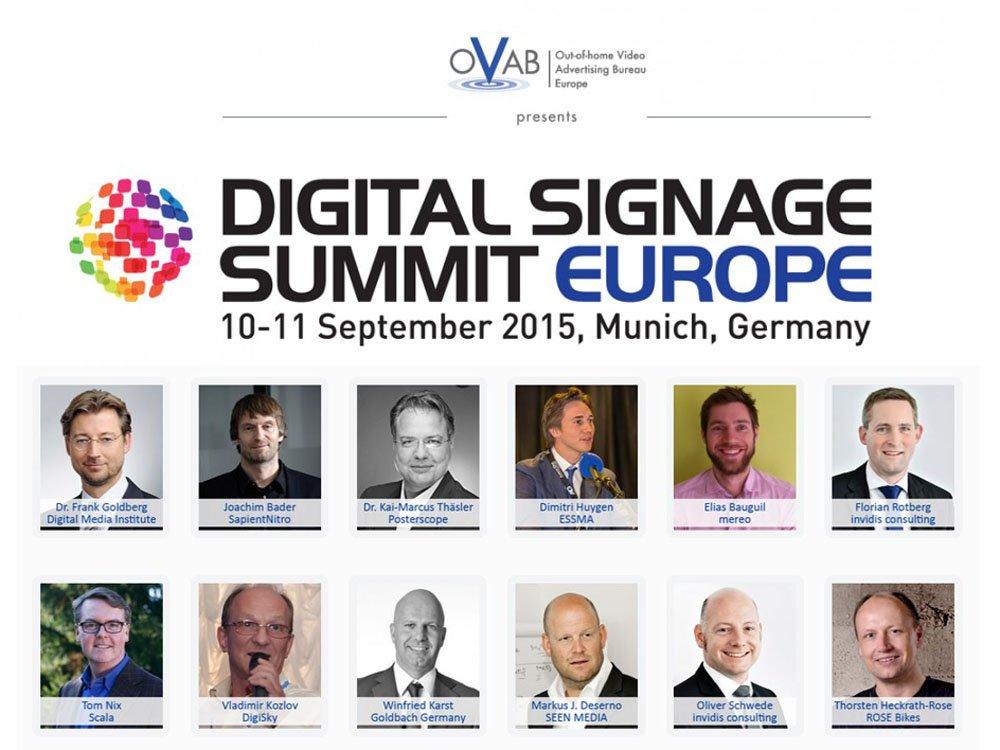 OVAB Digital Signage Summit Europe 2015 - Die ersten Sprecher stehen fest (Montage: invidis)