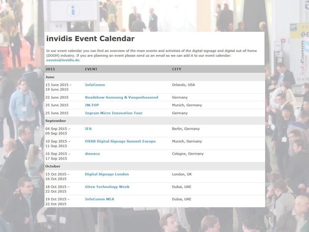 Der invidis Eventkalender 2015 (Bild: invdis)