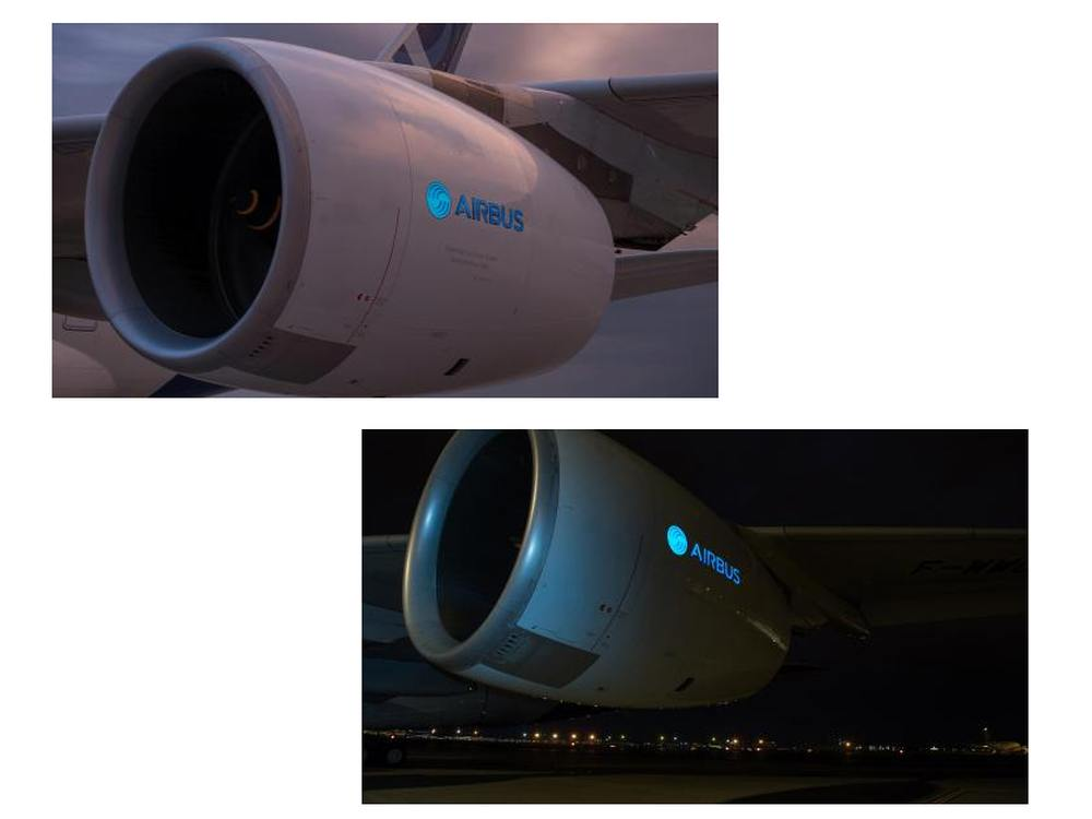 Tag und Nacht im Einsatz - Außen-Screen von Aircelle an einem A380 (Fotos: Hervé Goussé / master films / Aircelle)