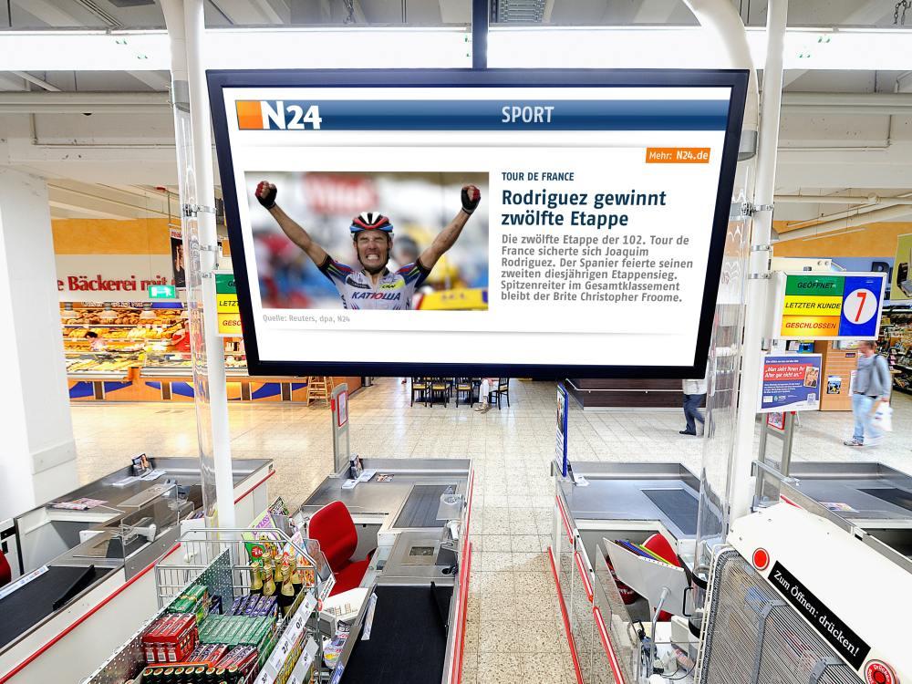 An einer Kasse bei real in Mönchengladbach - Screen mit Content von N24 (Foto: echion)