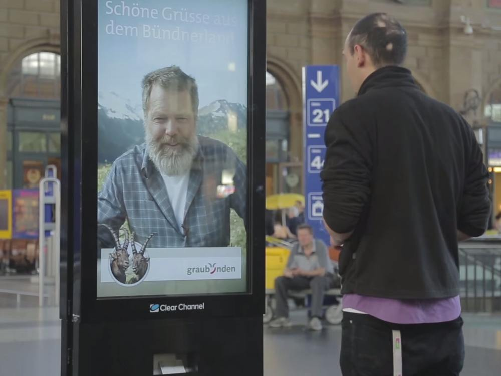 DooH Aktion für Graubünden am Hauptbahnhof in Zürich (SCreenshot: invidis)