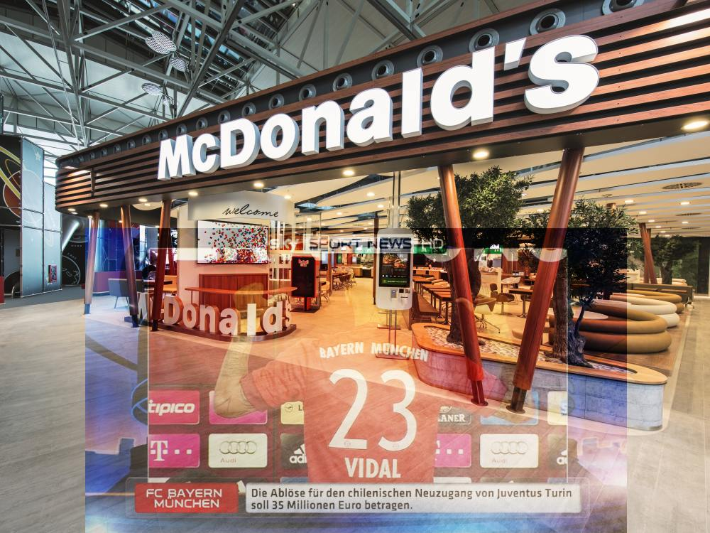 Mc Donald's Filiale und Sky Content (Foto: Mc Donald's; Screenshot: Sky Deutschland; Montage: invidis)