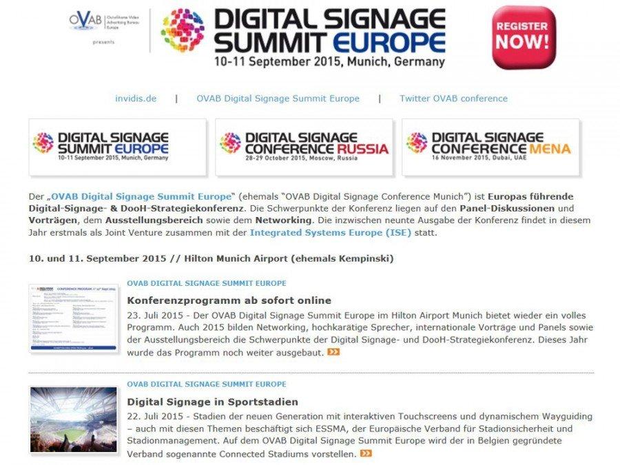 Alle News zum OVAB Digital Signage Summit Europe 2015 auf einen Blick (Bild: invidis)