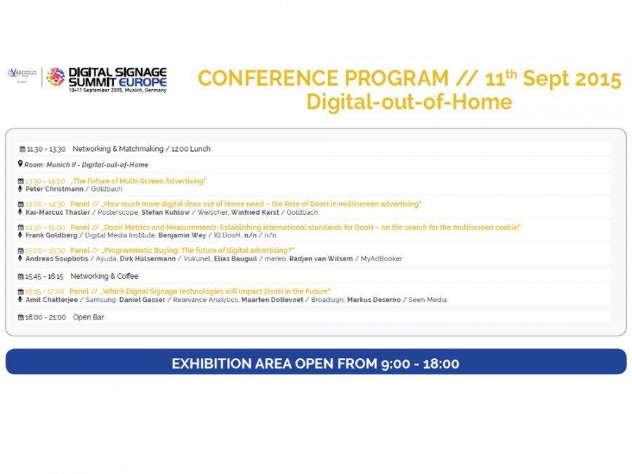 OVAB Digital Signage Summit Europe 2015 - Konferenzprogram DooH (Grafik: invidis)