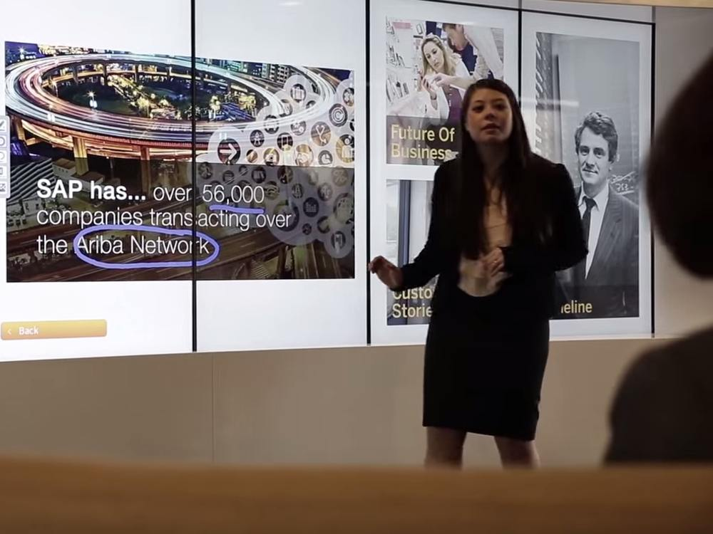 Touch Wall im SAP Executive Briefing Center (Screenshot: invidis)