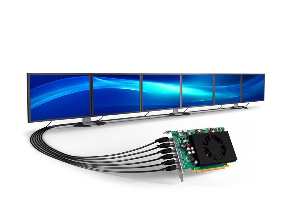 Bis zu sechs Displays können locker versorgt werden - Grafikkarte Matrox C680 (Foto: Matrox)