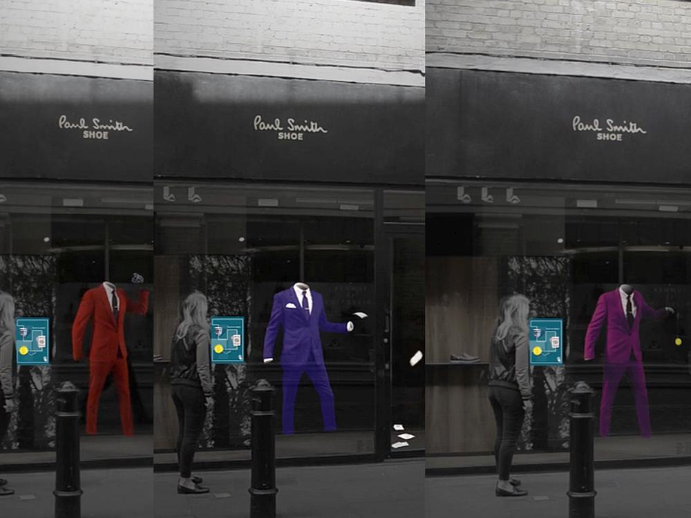 Farben- und Formenspiel im interaktivem Schaufenster bei Paul Smith in London (Screenshots/ Montage: invidis)