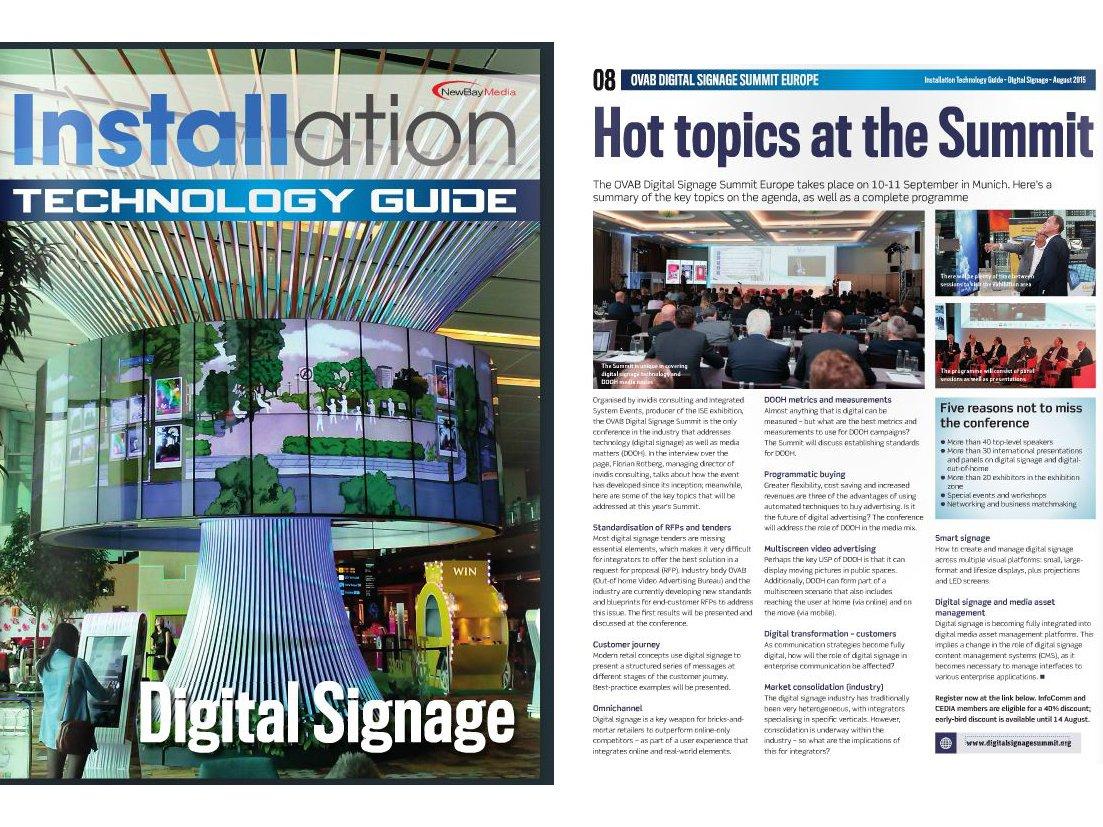 Installation Digital Signage Supplement - OVAB DSS Europe event special (Screenshots: invidis)
