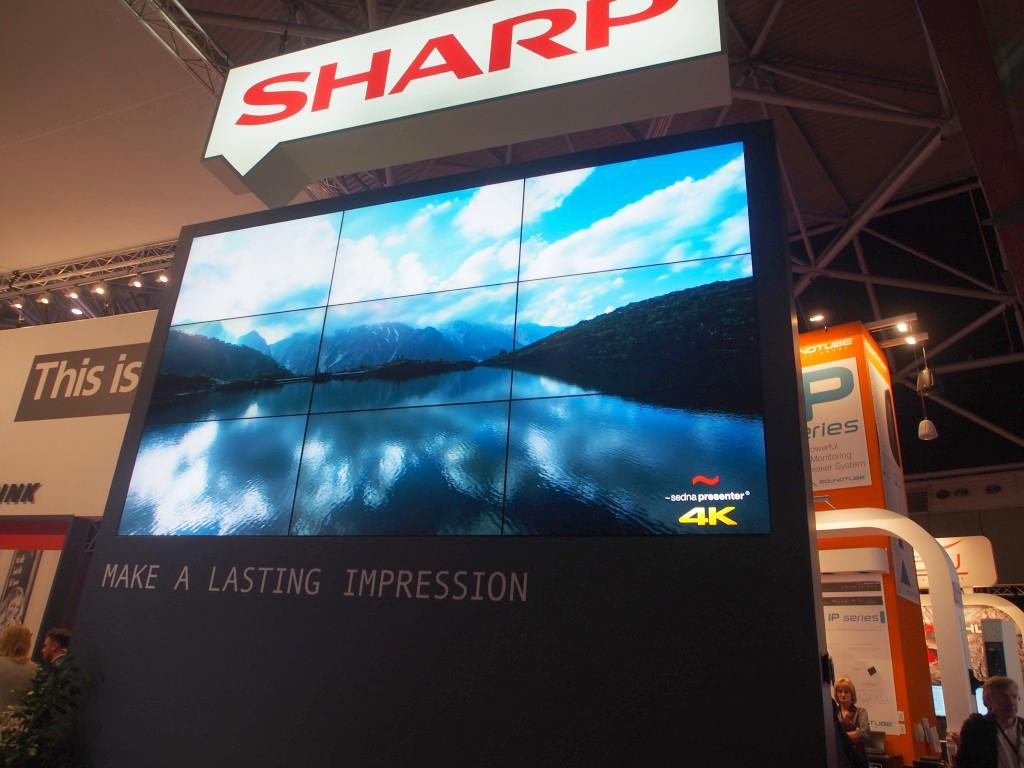 Sharp Video Wall auf der ISE 2015 (Foto: invidis)