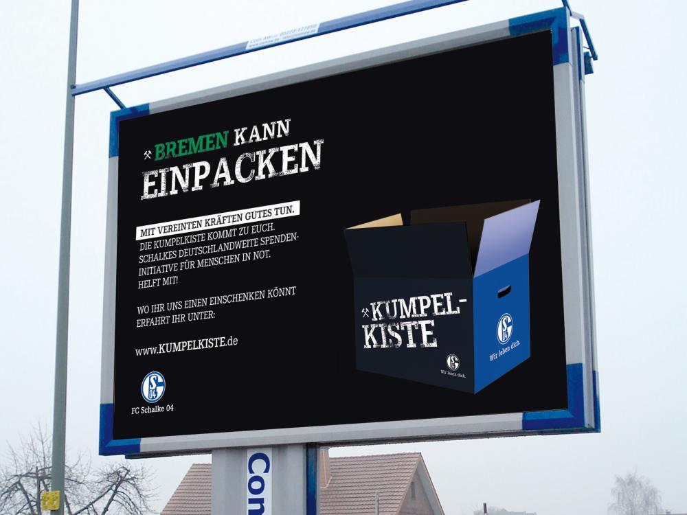 So wirbt Schalkes Spendenintiative Kumpelkiste (Foto: 1-2-3-Plakat.de)