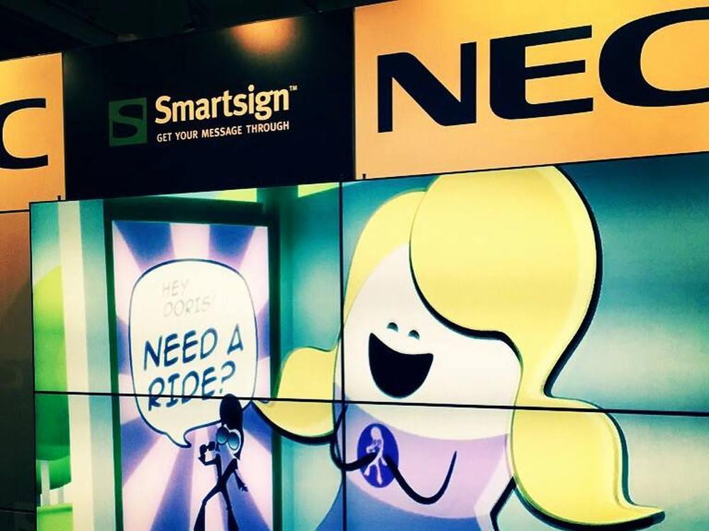 Unter Smartsign laufende Inhalte auf einer Video Wall von NEC (Foto: Smartsign)