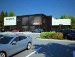 Außenansicht eines neuen Mazda Autohauses (Rendering: MNAO)