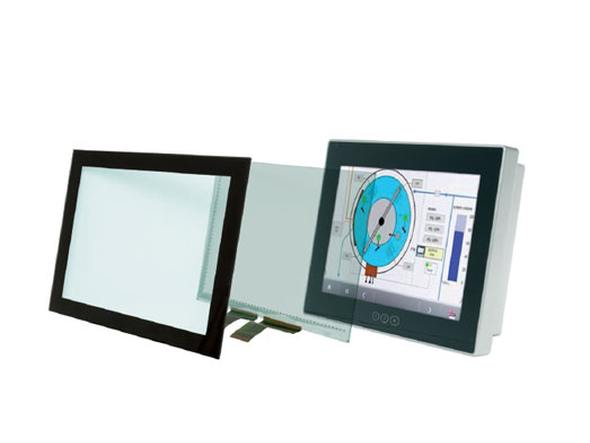 Aufbau eines PCAP Touch Screens (Grafik/ Foto: HY-LINE)