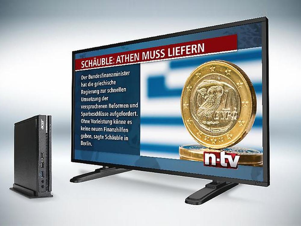 DWIN Player und Digital Signage Screen (Foto: n-tv)
