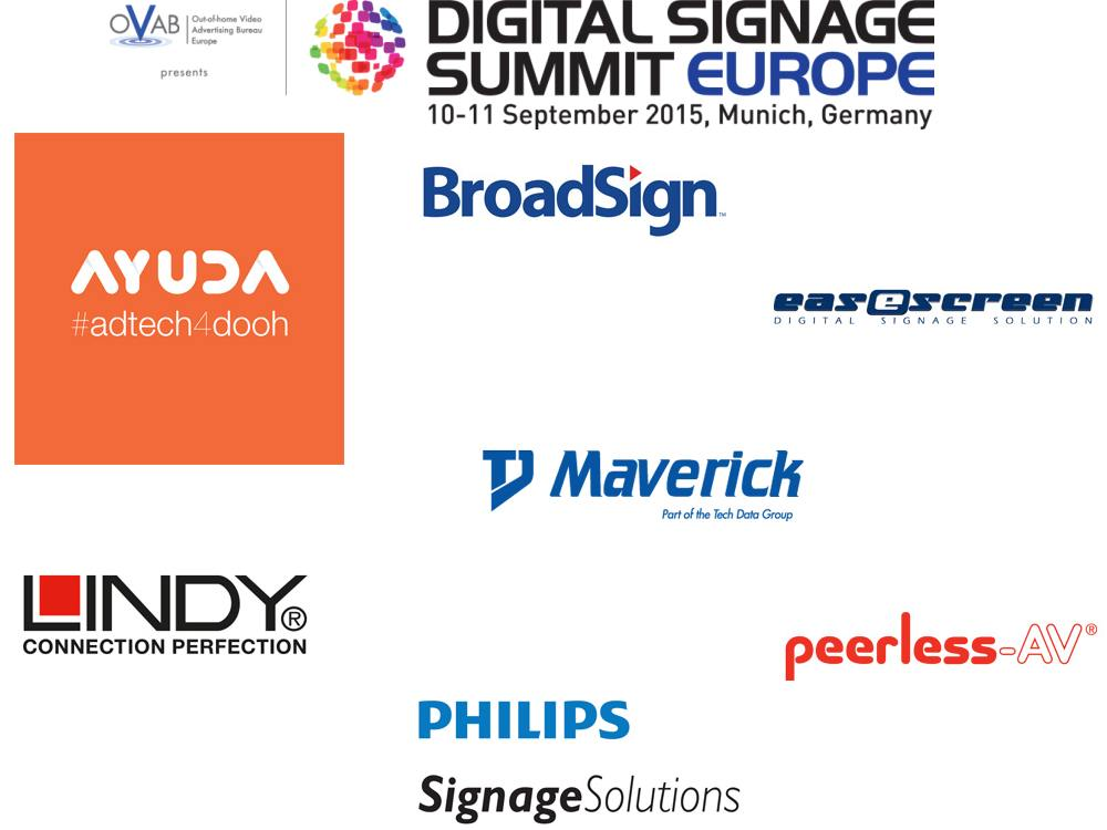 Die Sponsoren des DSS Europe 2015 in München (Logos: Unternehmen; Grafik: invidis)