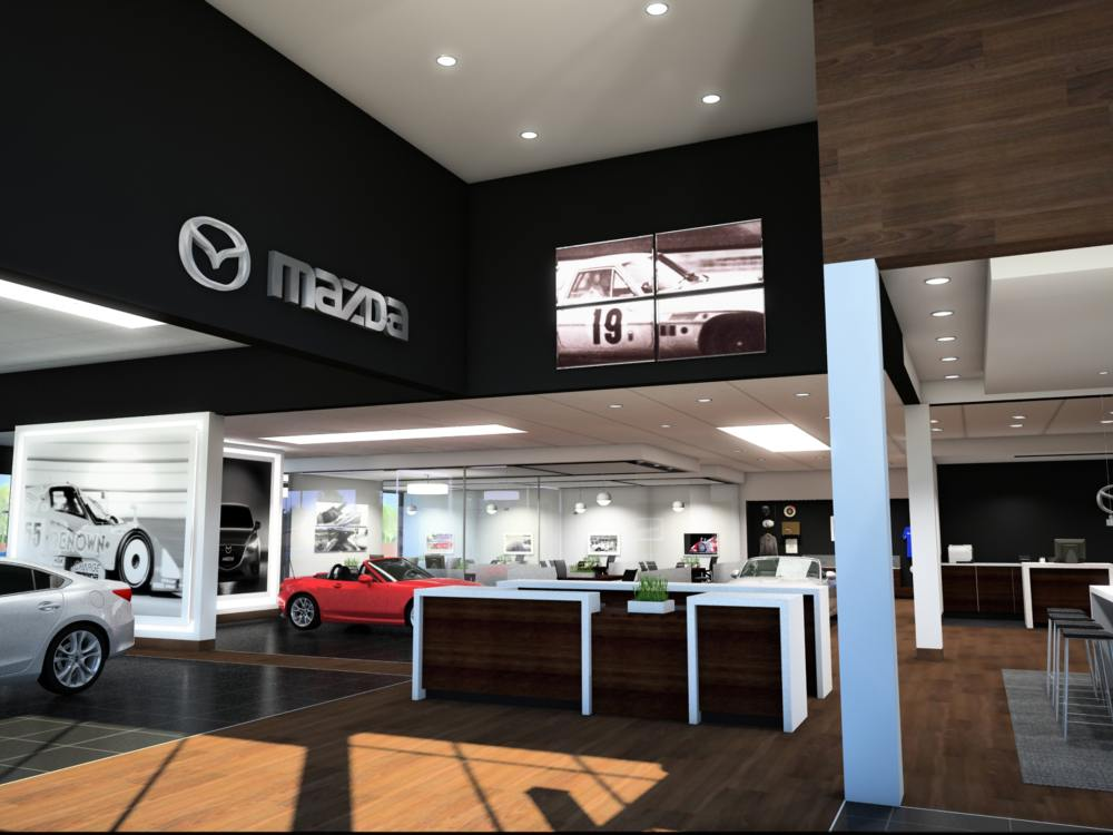 Neues Mazda Autohaus in den USA (Rendering: MNAO)