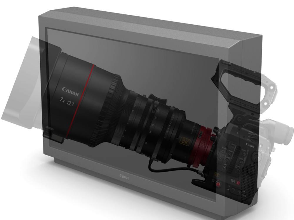 SHV 8K TV - so könnten der 8K Referenz Screen und das EOS System aussehen (Fotos: Canon; Montage: invidis)