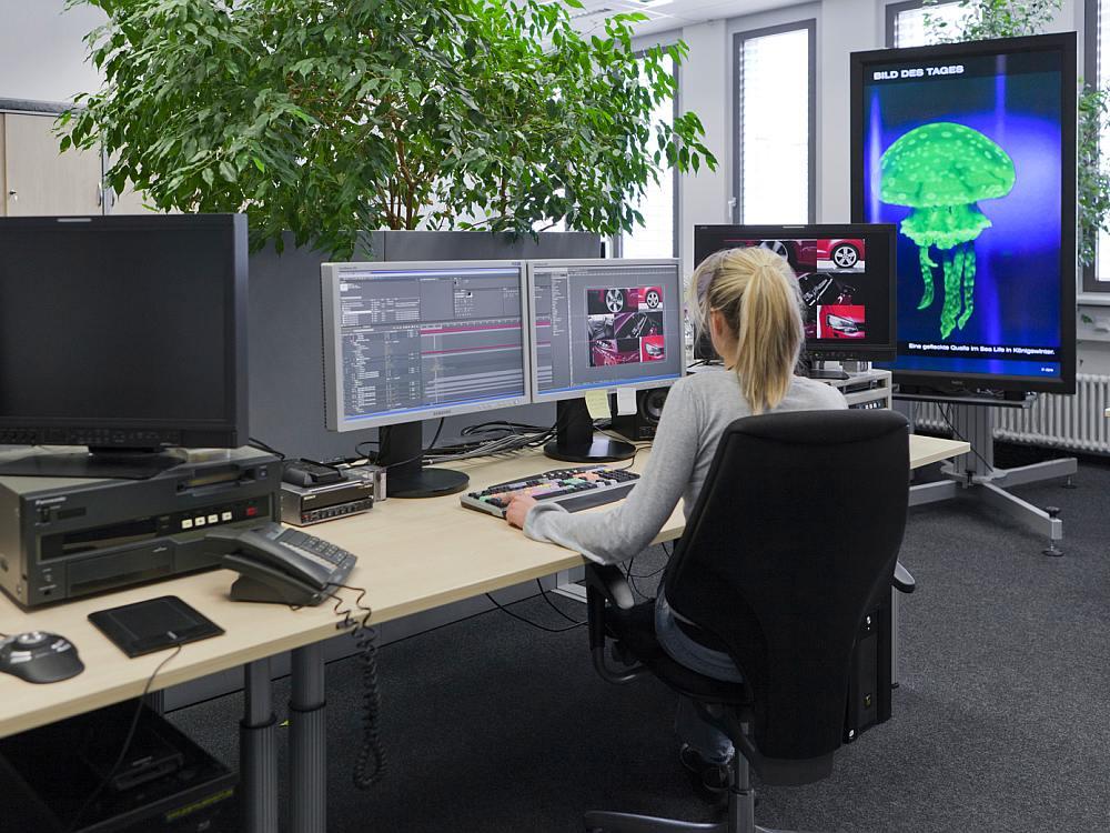 Spotproduktion bei Infoscreen in München (Foto: Ströer)