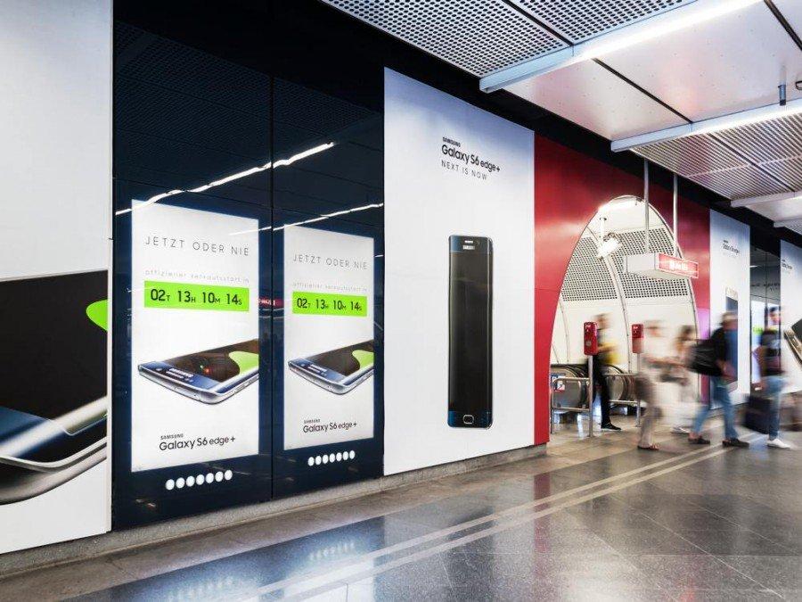 Stephansplatz in Wien Station Branding von Samsung (Foto: Gewista)