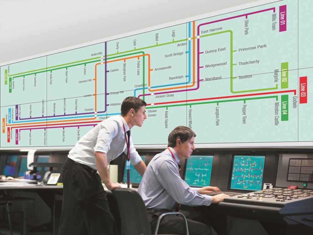 Video Wall aus Sharp Professional Screens PN-V551 in einem Kontrollraum (Foto: Sharp)