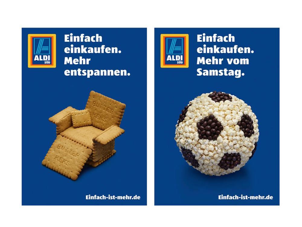 Zwei Motive aus der Imagekampagne von Aldi Süd (Fotos/ Grafik: Preuss und Preuss)