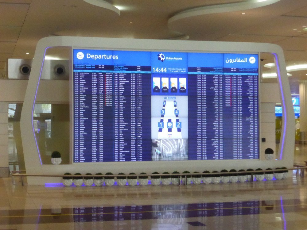 DXB Terminal 3 Departure Board (Photo: invidis)