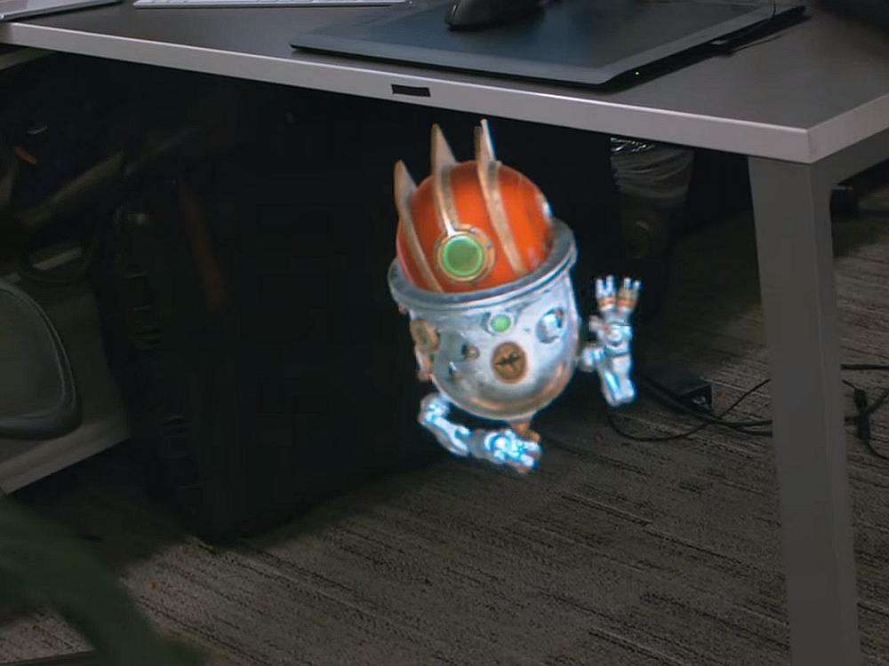 Der kleine Droide unterm Schreibtisch wurde mit Magic Leap erstellt (Screenshot: invidis)