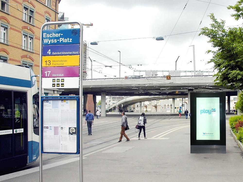 """Hier wird ab 2016 das Outdoor 72"""" Netz von Clear Channel für Zürich entstehen (Foto/ Rendering: Clear Channel Schweiz)"""