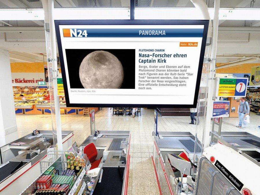 Screen des ShopKontakt Netzwerks an der Kasse (Foto: echion)