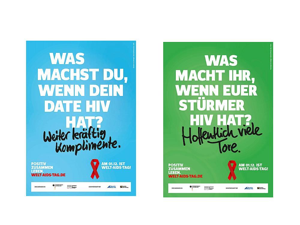 Welt-Aids-Tag 2015 - zwei der aktuell vier neuen Motive (Fotos: BGzA)