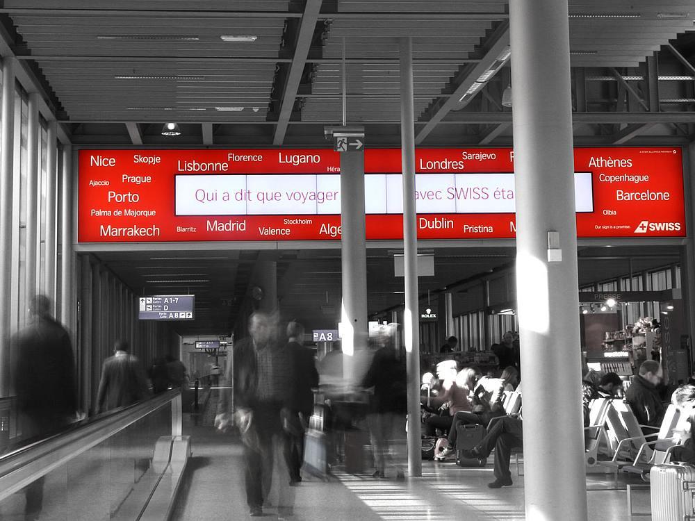 Airportwerbung am Flughafen Genf - No Advertising hält dort seit Sommer alle Werberechte (Foto: JCDecaux SA)