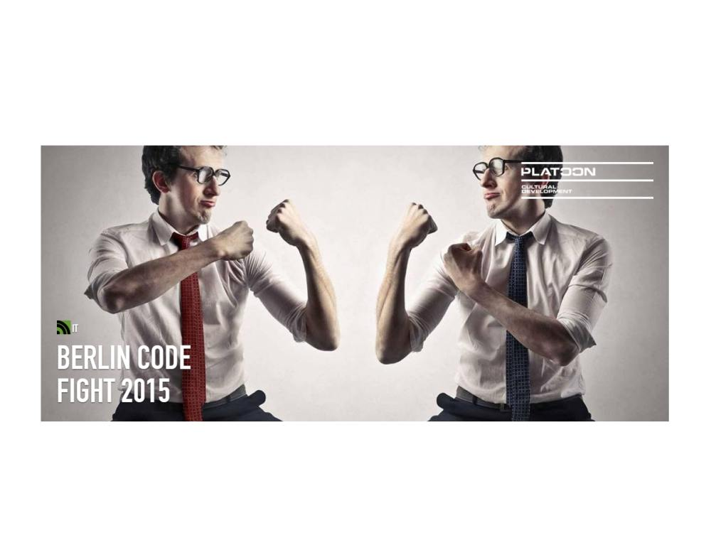 Beim Berlin Code Fight 2015 wird mit harten Bandagen gekämpft (Foto u. Grafik: Platoon Kunsthalle)