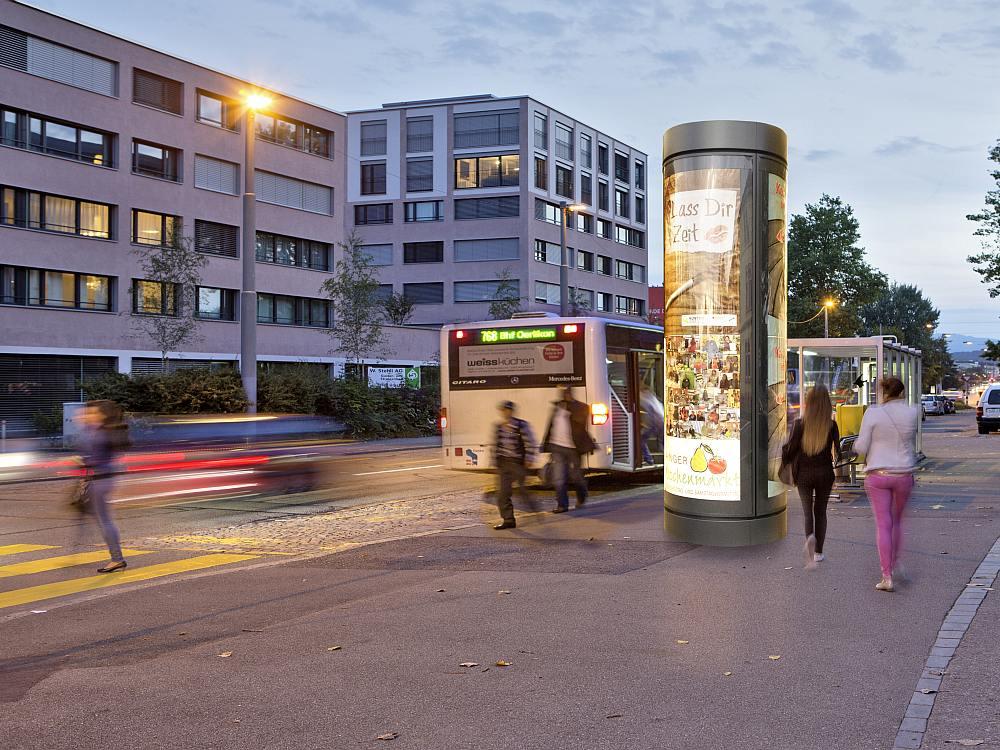Hinterleuchteter Werbeträger - hier eine Clear Channel Leuchtdrehsäule in Zürich, Symbolbild (Foto/ Rendering Clear Channel)