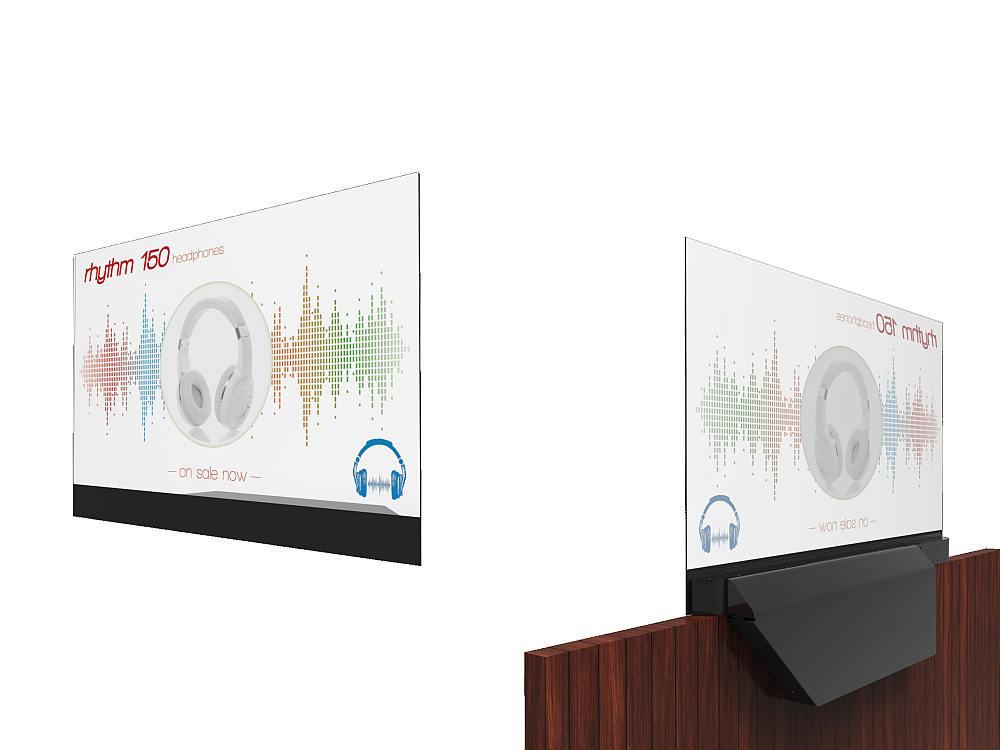 Vorderansicht und Rückseite eines LookThru OLED Screens (Renderings: Planar; Montage: invidis)