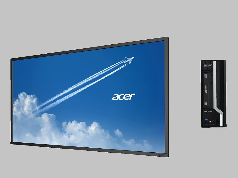 Aktuelles Portfolio bei Acer - Digital Signage 55 Screen und Mediaplayer Veriton N4630G (Fotos: Acer)
